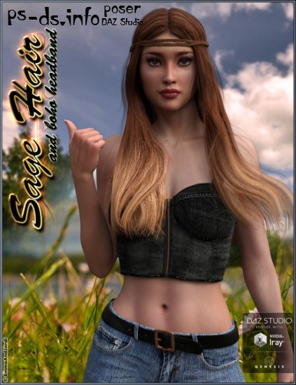 Sage Hair and Boho Headband for Genesis 3 Female(s)