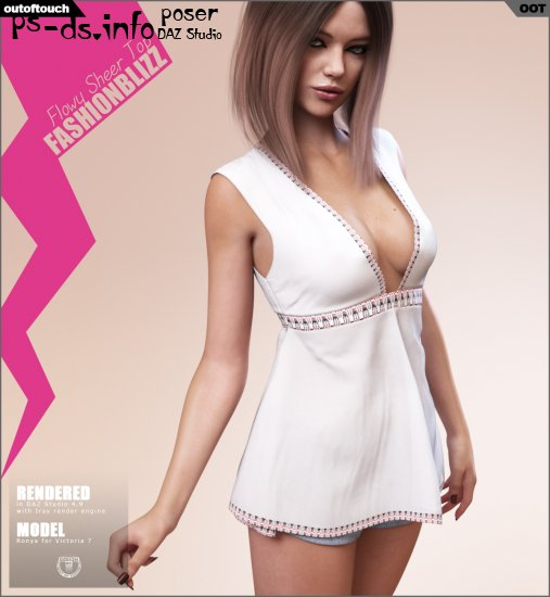 Fashion Blizz: Flowy Sheer Top for Genesis 3 Female(s)