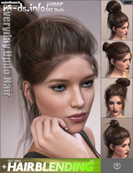 Everyday Updo Hair and OOT Hairblending 2.0 for Genesis 3 Female(s)