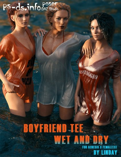 Boyfriend T-Shirt Wet and Dry for Genesis 3 Female(s) (Update Genesis 8)