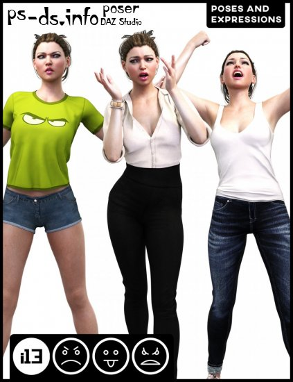 i13 Anger Disgust and Rage Poses and Expressions for Genesis 3 Female(s)