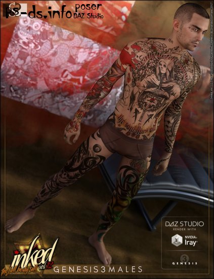 Inked Vol.12: The Full Bodysuit for Genesis 3 Male(s)