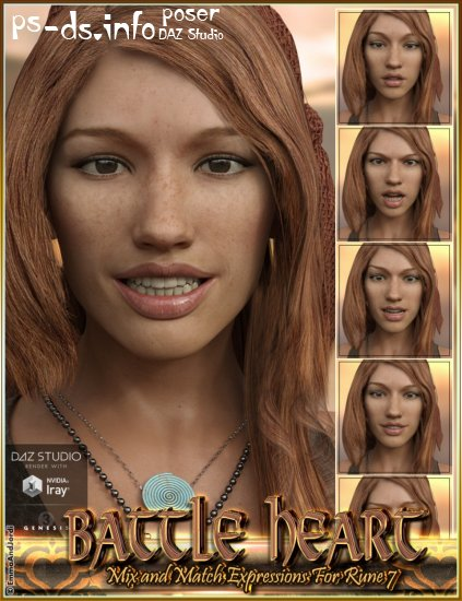 Battle Heart Mix and Match Expressions for Rune 7 and Genesis 3 Female(s)