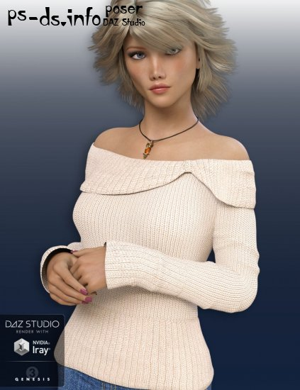 Off Shoulder Sweater for Genesis 3 Female(s)