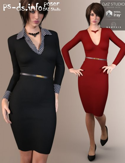 9 To 5 Dress Outfit for Genesis 3 Female(s)