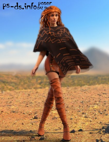 Poncho Girl Outfit for Genesis 3 Female(s) and Victoria 7