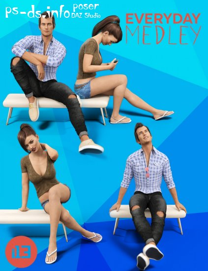 i13 Everyday Medley Poses and Furniture for Genesis 3 Female(s) and Male(s)