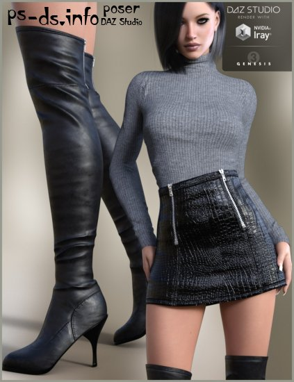 Leather Skirt Outfit for Genesis 3 Female(s)
