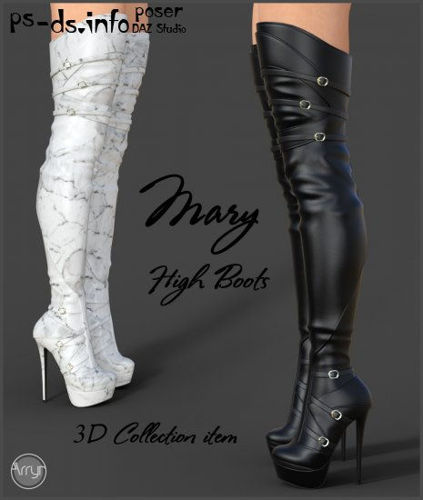 Mary High Boots for Genesis 3 Females