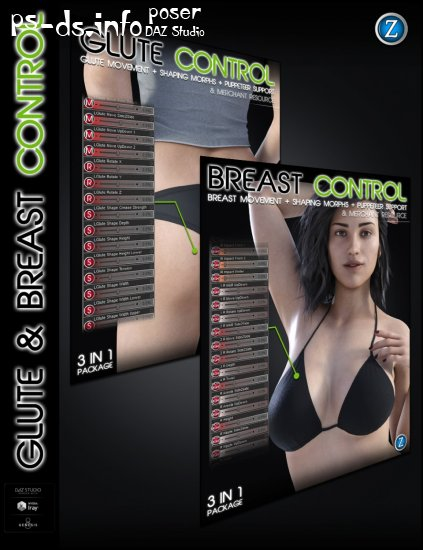 Glute and Breast Control Bundle for Genesis 8 Female(s)