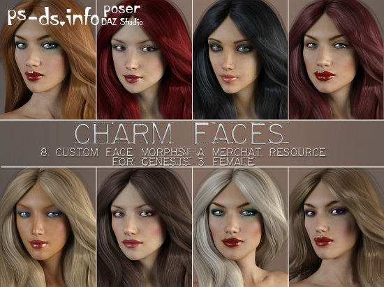 Charm Faces for Genesis 3 Female