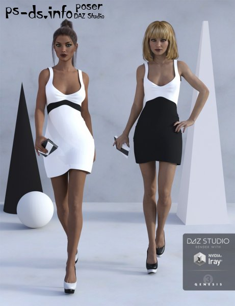 Little Black and White Dress for Genesis 3 Female(s)