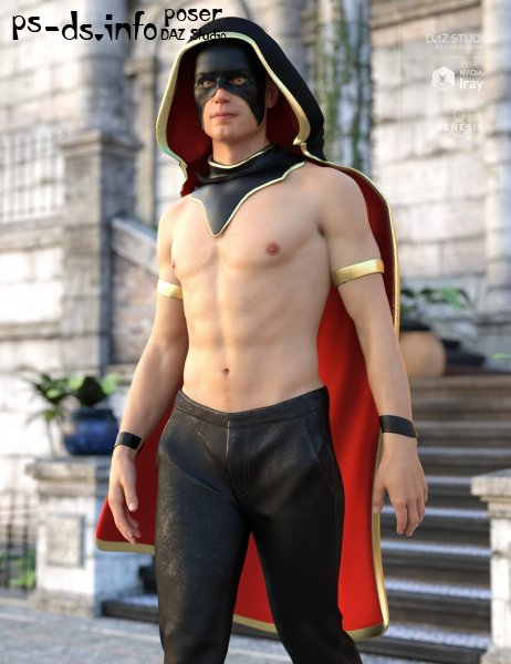 Fantasy Collar, Mask,and Cloak for Genesis 8 Male(s)