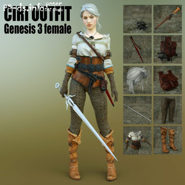 Ciri Outfit For G3F