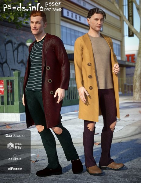 dForce Long Coat Outfit Textures