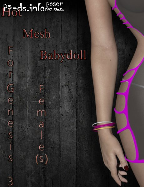 Hot Mesh Babydoll For Genesis 3 Females