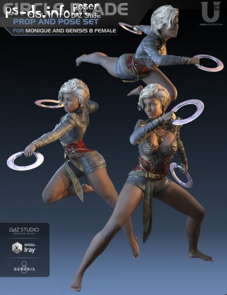 Circle Blade Pose Set and Prop for Monique 8 and Genesis 8 Female