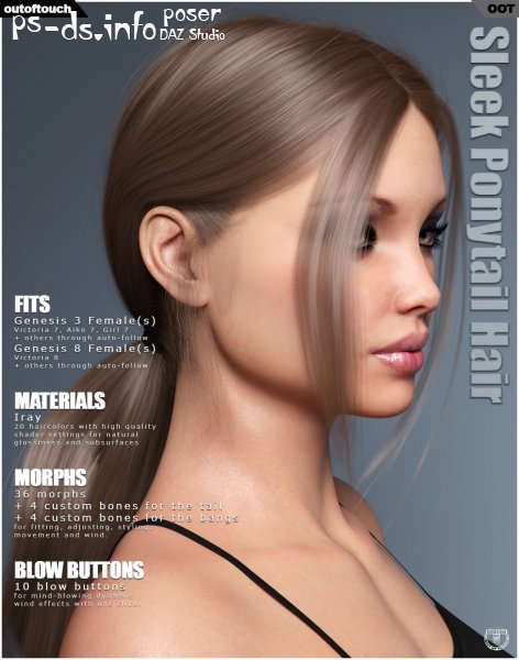 Sleek Ponytail Hair for Genesis 3 and 8 Females
