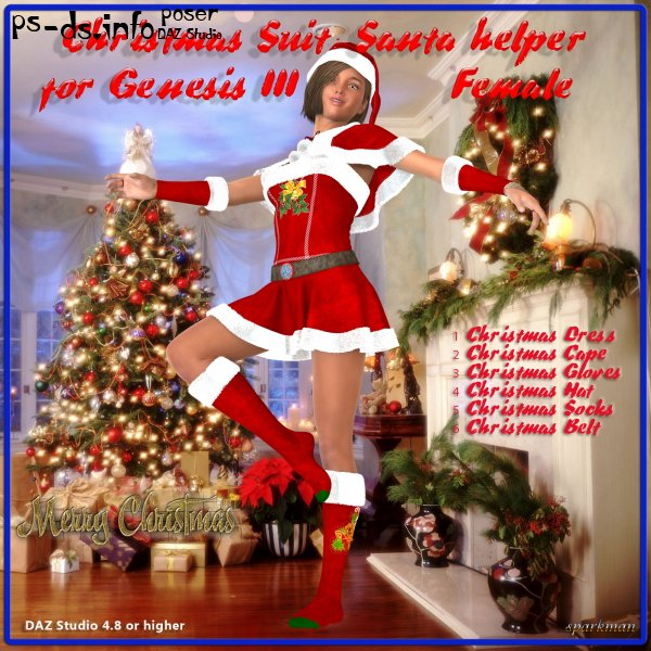 Christmas Suit : Santa Helper for DAZ Genesis 3 Female(s)