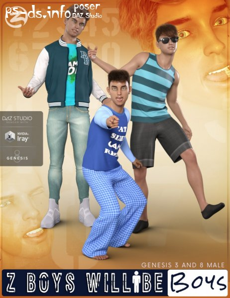 Z Boys Will Be Boys - Poses, Partials and Expressions for Genesis 3 and 8 Male