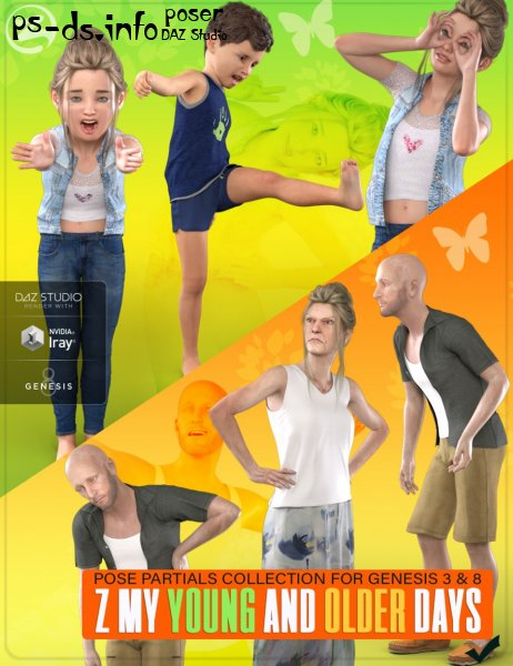 Z My Young and Older Days - Poses and Partials for Genesis 3 and 8