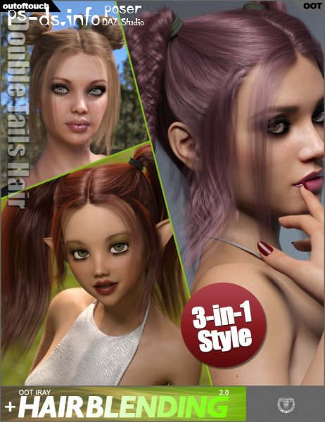 Double Tails Hair for Genesis 3 and 8 Female(s)