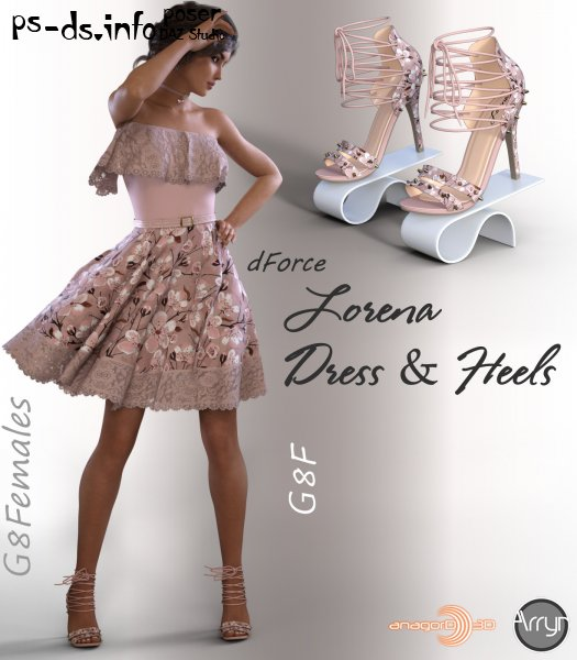 dForce Lorena Dress and Footwear Outfit for G8F