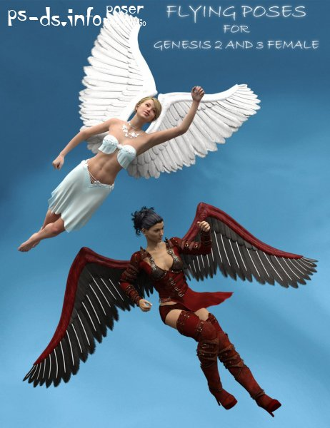 Flying Poses for Genesis 2 Female(s) and Genesis 3 Female(s)