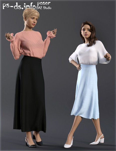 dForce H&C Long Skirt Outfit for Genesis 8 Female(s)