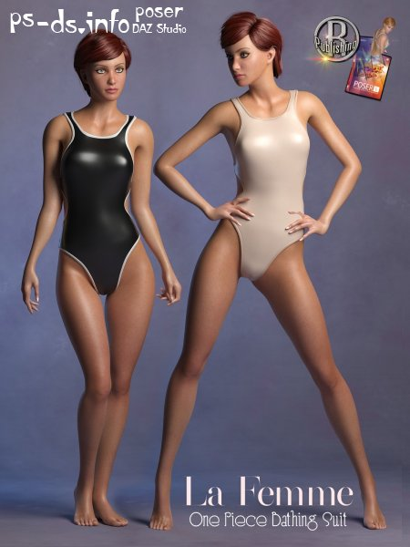 1 Piece Bathing Suit for La Femme for Poser 11