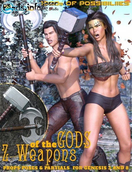 Z Weapons of the Gods and Poses for Genesis 3 and 8
